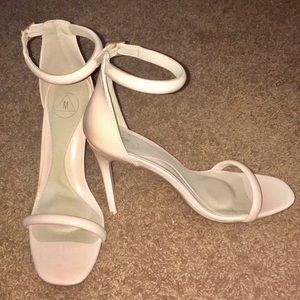 Missguided Barely There Nude Ankle Strap Heels